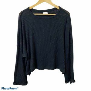 Abound Black Boxy Oversized Ribbed Crop Top NWOT